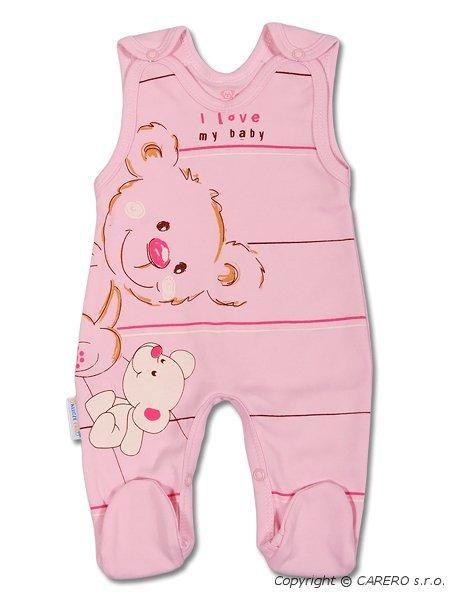 Bavlněné dupačky - růžový medvídek s proužkem Ewa Klucze