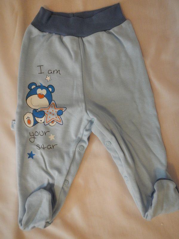 Bavlněné polodupačky - modrý medvídek s hvězdičkou BOBAS