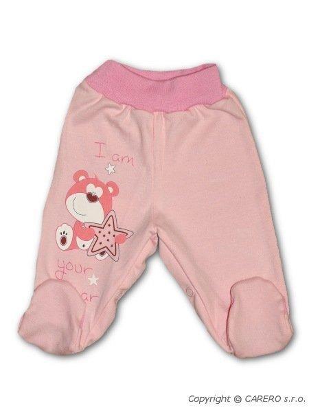 Bavlněné polodupačky - růžový medvídek s hvězdičkou BOBAS