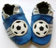 Kožené capáčky - FOTBAL modré