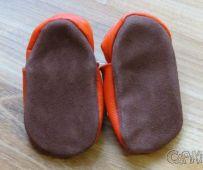 Kožené capáčky - KAČENKA oranžová AFELO