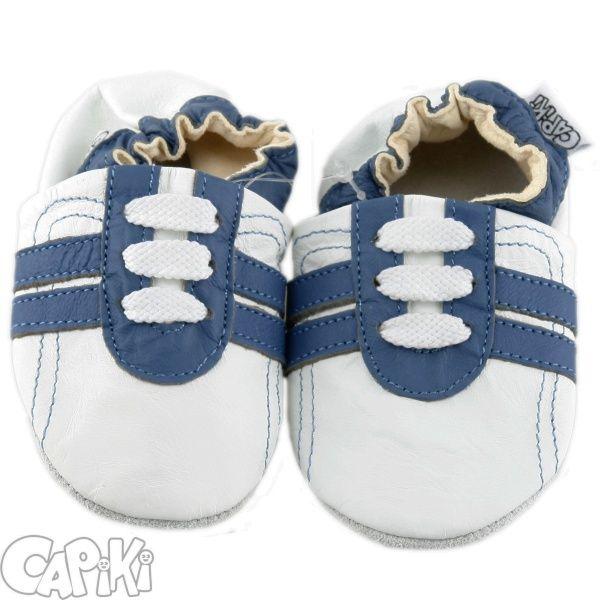 Kožené capáčky - TENISKY modro-bílé CAPIKI