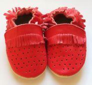 Kožené capáčky - MOKASÍNKY DĚROVANÉ červené