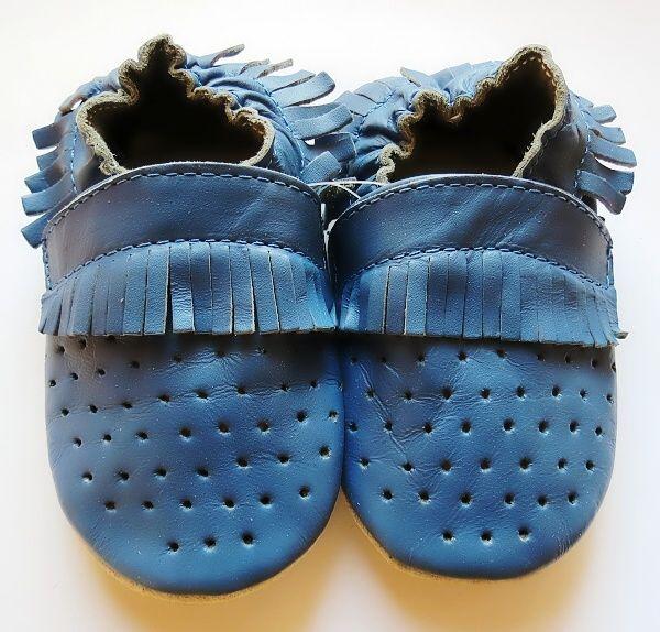 Kožené capáčky - MOKASÍNKY DĚROVANÉ modré CAPIKI