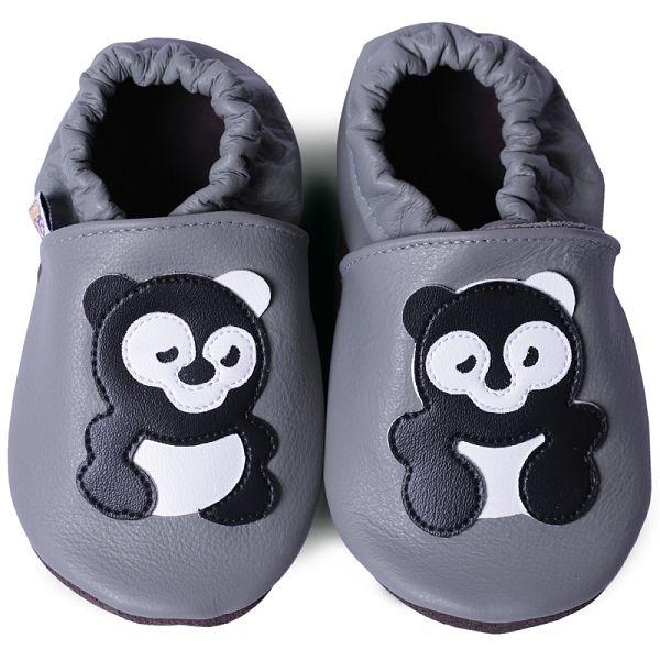 Kožené capáčky - PANDA na šedé AFELO